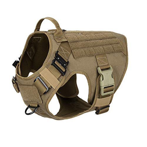 ICEFANG Tactical Dog Harness with 2X Metal Buckle,Working Dog MOLLE Vest with Handle,No Pulling Front Leash Clip,Hook and Loop for Dog Patch (L (28'-35' Girth), Coyote Brown)