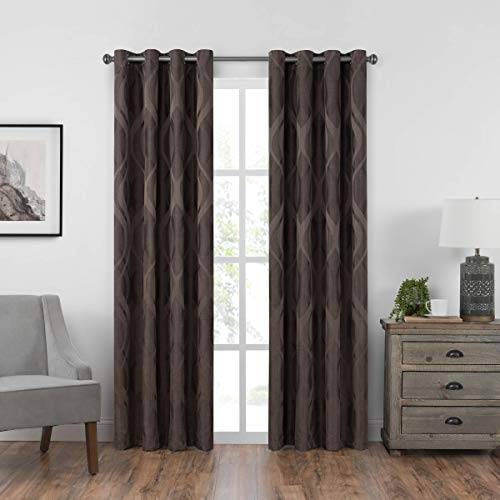 Eclipse Caprese 52 x 95 Insulated Darkening Single Panel Grommet Top Window Treatment Living Room, 52x95, Espresso