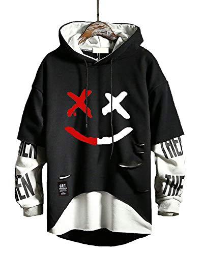 Hello MrLin Herren Techwear Hip Hop Hoodie Japanischer Streetwear Patchwork Urban Jumper