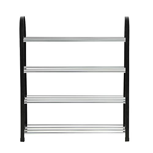 Bicaquu Shoes Storage, Plastic + Aluminum Metal Standing Shoe Rack DIY Shoes Storage Shelf Organizador del hogar(4 Tiers)