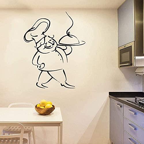 Etiqueta engomada de la pared del vinilo del hogar Etiqueta engomada del art déco del cocinero de la cocina Etiqueta engomada de la pared de la decoración de la cocina 43x59cm