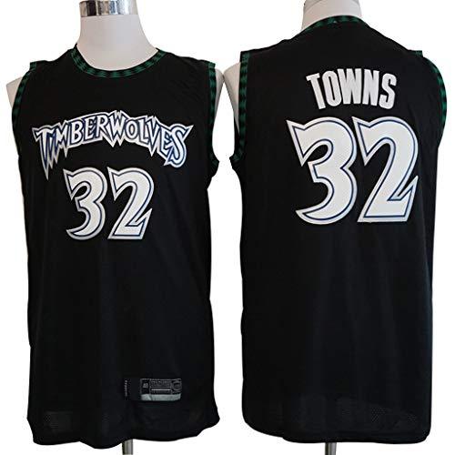 YHIU Herren-Basketballtrikot - # 32 Karl-Anthony Towns-Minnesota Timberwolves-Trikot, Sportbekleidung, ärmelloses Unisex-Basketball-Swingman-Trikotoberteil aus besticktem Netz-XXL