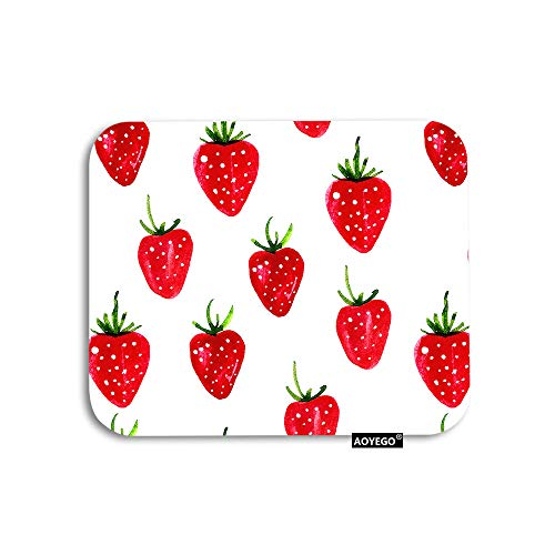 AOYEGO Strawberry Mouse Pad Watercolor Fruit Red Berry with White Dot Green Leaves Gaming Mousepad Rubber Large Pad Non-Slip for Computer Laptop Office Work Desk 9.5x7.9 Inch