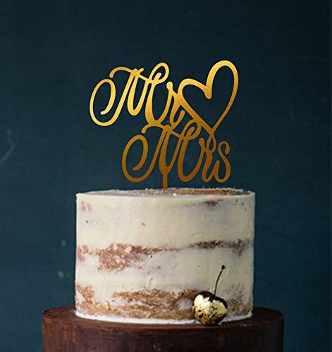 Cake Topper, Mr & Mrs, Tortenstecker, Tortefigur Acryl, Hochzeit Hochzeitstorte Kuchenaufstecker (Spiegel Gold (Einseitig)) Art.Nr. 5004