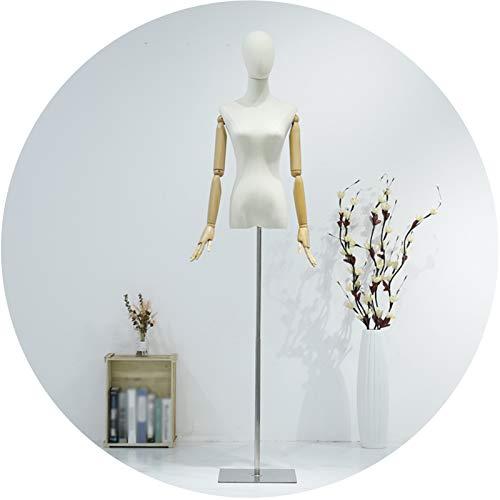 ZHANWEI Maniquí De Costura, Ropa De Mujer Ajuste De Altura Accesorios Modelo, Tienda De Ropa De Ventana Soporte Exhibición Medio Torso, Diseño Costura Material Lino (Color : A, Size : Small)