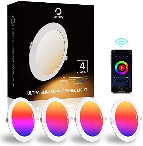 Lumary Faretti LED da Incasso per Cartongesso WiFi 18W Faretti LED Ultrasottili RGBWW 1260LM APP Controllo Multi Colore Dimmerabile Musica Faretti a LED per Interni,Pertain Alexa Google Home-4PZ