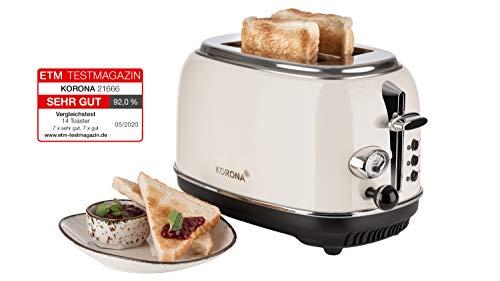 Korona 21666 toster, 2 krążki, krem, wskaźnik stopnia prażenia, rozmrażanie, podgrzewanie, 810 W, nakładka na bułki, szuflada na okruchy, centrowanie krążków chleba