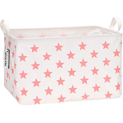 Sea Team Collapsible Canvas Fabric Storage Basket with Handles, Rectangle Waterproof Storage Bin, Box, Cube, Foldable Shelf Basket, Closet Organizer, 16.5 x 11.8 x 9.8 Inches, Pink Star