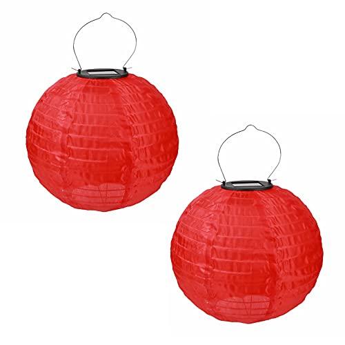 Farolillo solar para exteriores, impermeable, para colgar en el jardín, 2 unidades (rojo)