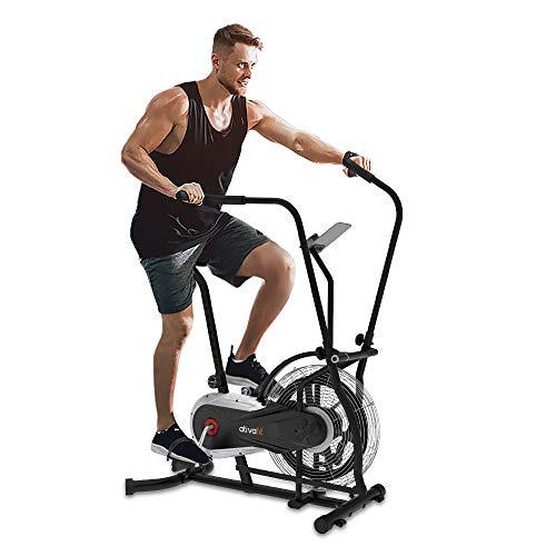 Ativafit Fan Bike Exercise Upright AirBike Indoor Cycling Fitness Bike Stationary Bicycle with Air Resistance System Grey
