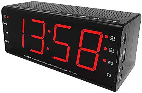 Reloj despertador digital, radio reloj Fm, radio reloj despertador con pantalla LED, repetición, atenuador, temporizador de apagado y mesita de noche, escritorio, dormitorio con alarma doble, blac