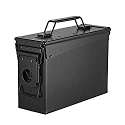 commercial Metal Ammo Case-Solid Steel Military and Military Box with 50 caliber holder (Black-30CAL, 30CAL) ammo cans
