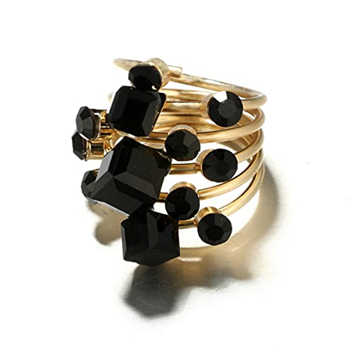 JIUDELE Juego de anillos de oro con apertura de piedra de cristal negro y estilo punk para mujeres y hombres y mujeres