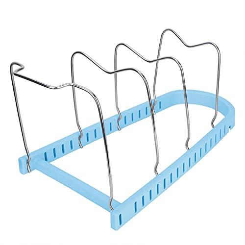 Shipenophy Soporte para Plato de Cena Organizador de Herramientas de Cocina Estante de Almacenamiento de Utensilios Espaciado Ajustable para ollas para Tapa de Utensilios de Cocina(Blue)