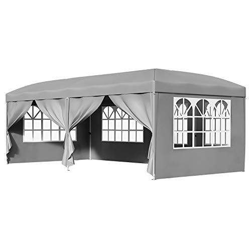 SONGMICS Pavillon, 3 x 6 m Gartenpavillon, Anti-UV, Pop-up, Gartenzelt, Faltpavillon, wasserfest, abnehmbare Seitenwände, Türen mit Reißverschluss, mit Tasche, Outdoor, Hochzeit, grau GCT24GY