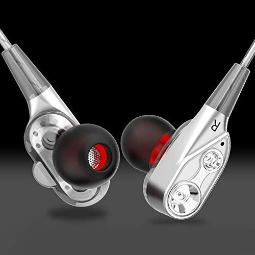 CHEJHUA D2 1.2M Cableado en EUR 3.5mm Interfaz Estéreo Auriculares con Control de Alambre con Cable Dual-Motion Loop Funcional Biz Music Headset con envasado Auriculares (Color : Silver)