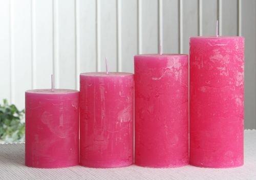 Rustik-Stumpenkerzen-Adventsset, mittel, 6 cm Ø, pink