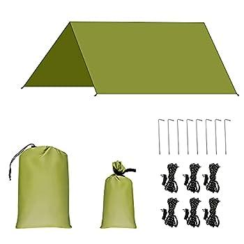 AROMUJOY Bâche Anti-Pluie Camping Tent Tarp Imperméable Housse de Pluie Anti Soleil et Waterproof Toile de Tente Abri de Randonnée Pliable Portablepour Voyage Picnic Vert Armée 3x3M