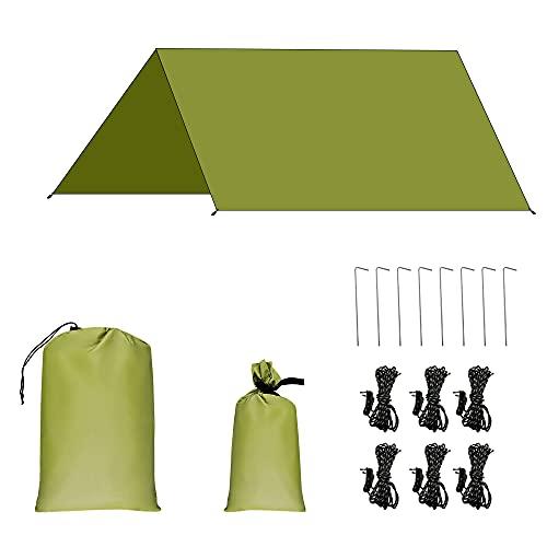 AROMUJOY Tenda Parasole Campeggio Impermeabile Tettoia Tarp Telone Anti-UV e Anti-Pioggia Pieghevole Portatile per Esterni Riparo per Viaggio Spiaggia Nave Picnic All'aperto Verde Militare 3x3M