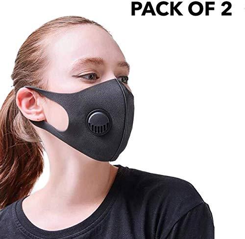 CUQOO Anti-Staub-Maske mit Filter, Gesichts-Mundmaske, wiederverwendbar, waschbar, Unisex, gefilterte Anti-Verschmutzungs-Gesichtsmaske