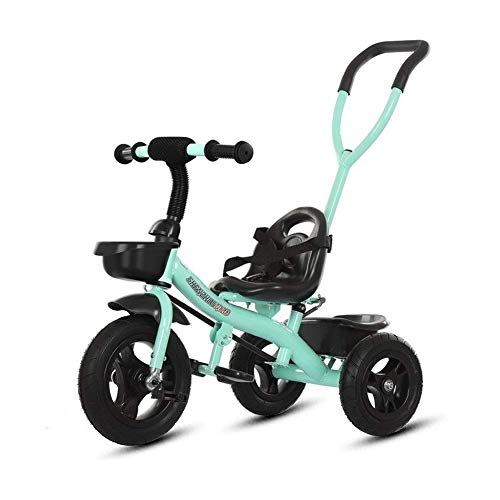 WLD Training Bike Trike Kids 'Dreiräder Dreirad Kinder Fahrrad Kinderwagen Tragbare Kinderspielzeug mit Putter Indoor-und Outdoor-Kombination 4 Farboptionen,Grün