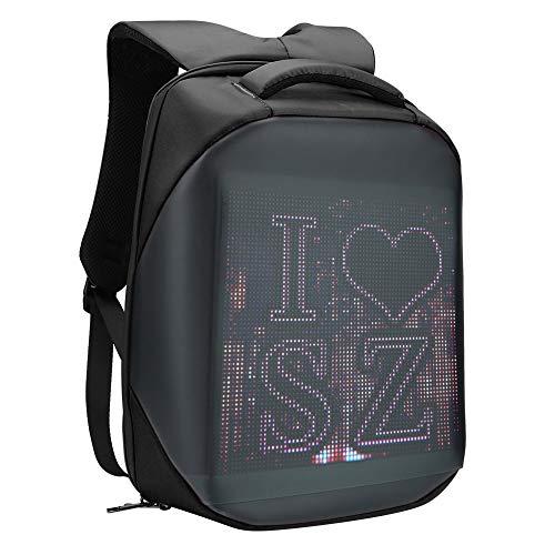 Smart Pixel LED Backpack, Multi‑Function Ergonomic Laptop Backpack Customizable Digital PIX Display WIFI APP Control Waterproof School Bookbag 20L 25 x 25cm(Black)