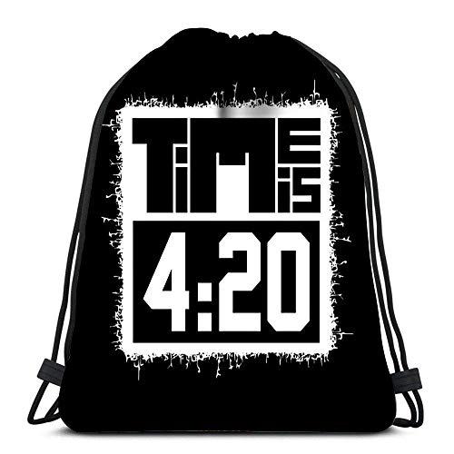GeorgoaKunk Mochilas con cordón El Tiempo es 420 en Bolsa de Gimnasio Deportivo Rastafari Negro