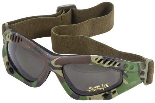 Miltec - Occhiali goggles d'intervento US Army commando forze speciali 'Black Panther', lenti nere, per softair, paintball, moto, quad, sci, neve, outdoor, montatura colore: Nero