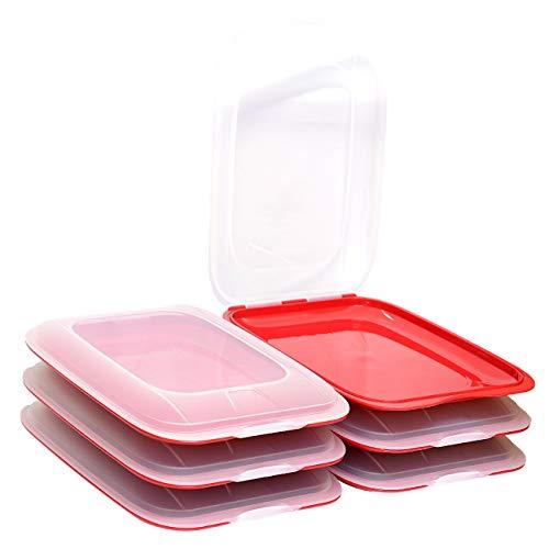 ENGELLAND - Hochwertige stapelbare Aufschnitt-Boxen, Frischhaltedose für Aufschnitt. Wurst Behälter. Perfekte Ordnung im Kühlschrank, 6 Stück Farbe Rot, Maße 25 x 17 x 3.3 cm