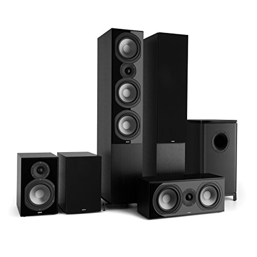 NUMAN Reference 851-5.1 Soundsystem, Heimkinosystem, 120 Watt, 2 x Standlautsprecher, 2 x Regallautsprecher, 1 x Center-Lautsprecher, 1 x Subwoofer, Schwarze Lautsprecherabdeckung, schwarz