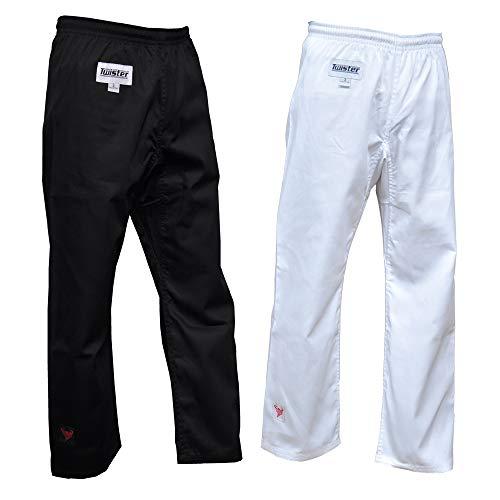 Karate/Taekwondo-Hose, mittelschwer, Weiß, 237 g, für Training, Schwarz und Weiß, 0 bis 7 (Weiß, 2)