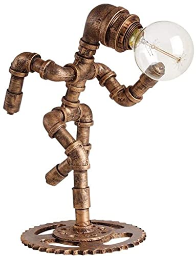 DZCGTP Lámpara de Mesa de Tubo de Agua nostálgica rústica Americana Loft Robot Creativo Luz de Escritorio Hierro Forjado Metal E27 Iluminación Nocturna única Fixtu