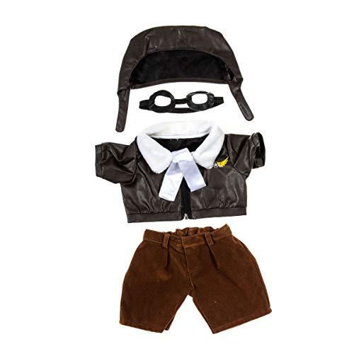 Pilotenanzug für 40 cm Plüsch - Kleidung für Teddybär Stofftier Plüschtier - mit Brille und Fliegermütze
