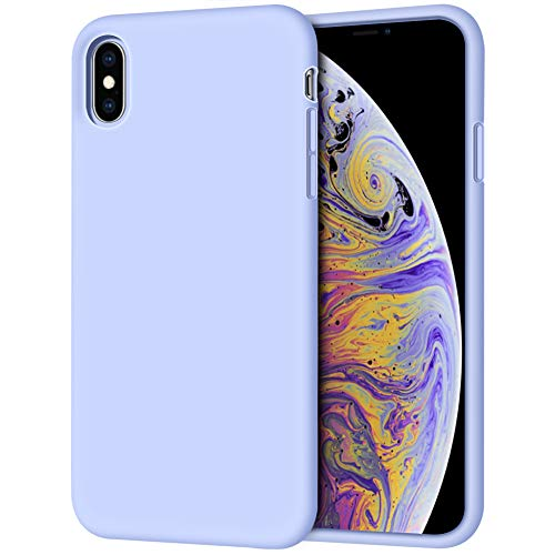 Anuck Case for iPhone Xs Max Case 6.5 inch 2018, Soft Silicone Gel Rubber Bumper Case Anti-Scratch Microfiber Lining Hard Shell Shockproof Full-Body Protective Case Cover - Light Purple