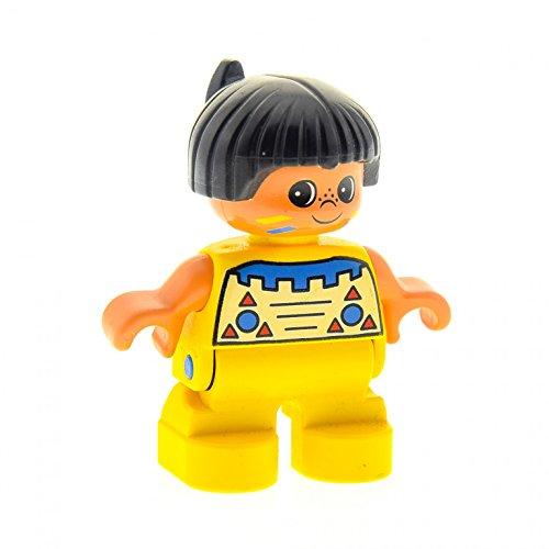 1 x Lego Duplo Figur Kind Junge Type 2 Indianer Top gelb mit Muster Haare schwarz mit Feder (American Indian) Puppenhaus 6453pb030