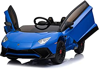 Mini Moto Lamborghini 12v Kids Ride-On Car (2.4ghz RC) - Blue