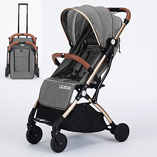 Baby Pushchair Stroller– Lightweight Foldable Travel Buggy with 5-Point Harness, Adjustable Seat Back and Oversize Basket Folds with 1 Hand – Smooth Swivel Wheels Rain Cover (Grey)