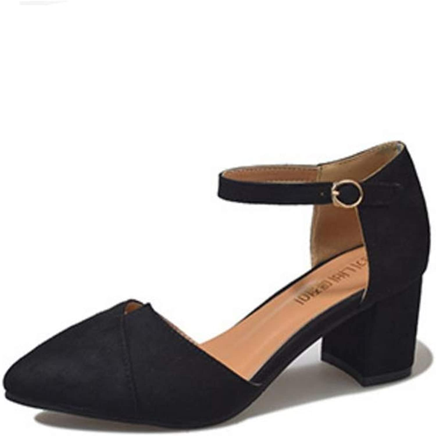 Gusha Women's Elegant Heel shoes Fashion Pointed Toe Pumps Thick with Sandals