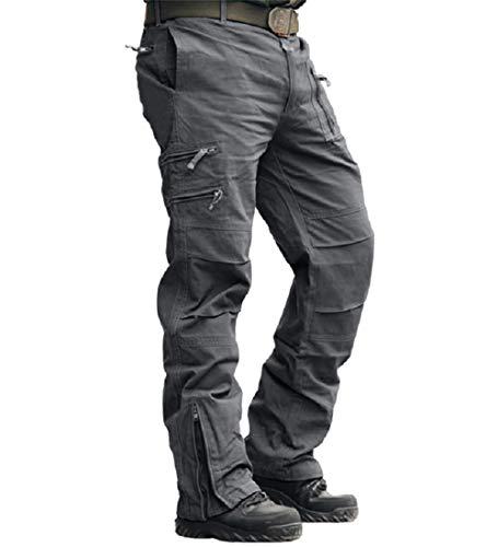 MAGCOMSEN Herren Hose Cargo Chino Wanderhose Combat Outdoor Hose Herbst Männer Trekkinghose mit Vielen Eingrifftaschen Radhose Arbeitshose Freizeithose für Angeln Reisen Grau 32