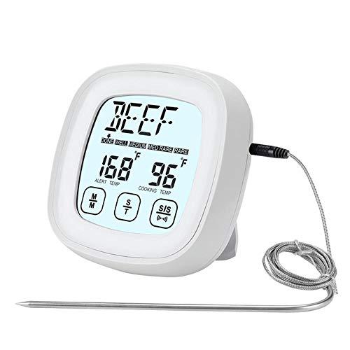 Termómetro digital para carne, pantalla táctil, barbacoa, lectura instantánea, sonda de temperatura a prueba de horno, temporizador de cocina termómetros para azúcar, agua mermelada ahumador parrilla