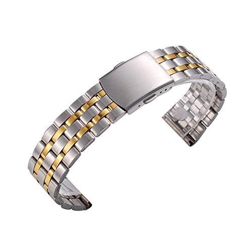 ZZDH Correas Relojes Acero Inoxidable Banda de Reloj de Reloj de Oro Plateado Banda de Acero Inoxidable 18mm 20 mm 22 mm Accesorios (Band Color : Silver Gold, Band Width : 22mm)