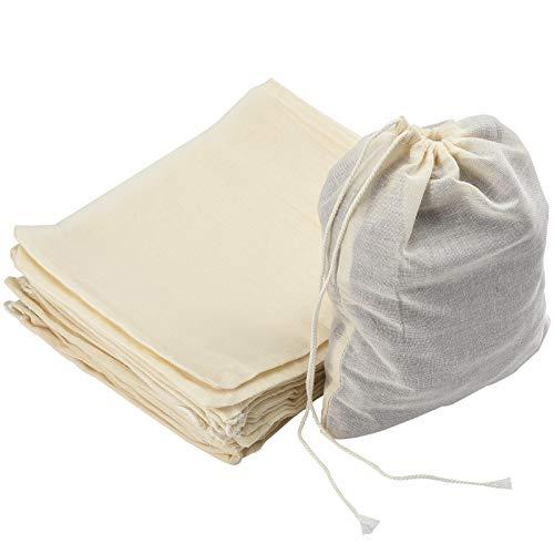 Irich 30 Piezas Bolsas de Muselina, Reutilizable Bolsas de Algodón con Cordón Bolsa de Filtro para Almacenar Hierbas Especias Artesanías (15 × 20CM)