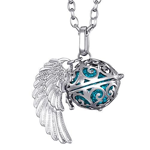 Morella Collar ángel de la Guarda de Acero Inoxidable 70 cm con Colgante alas de ángel y Bola de resonancia de Color Azul Ø 16 mm para Damas en Bolsa para Joyas