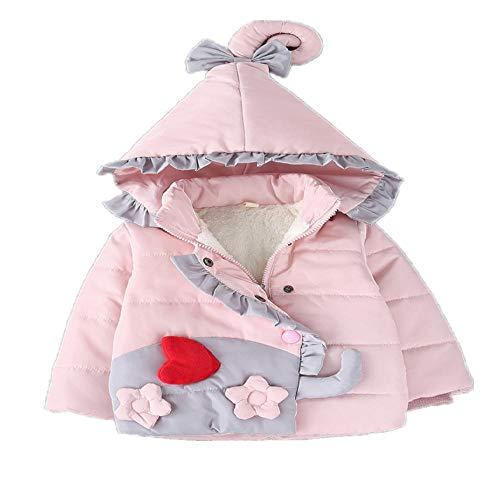Herbst Winter Jacke für Baby Mädchen Kleidung Baumwolle gepolstert Kapuze Mantel Säuglinge Kleidung Kleinkind Parkas Jacken Mäntel Gr. 110 cm, rose