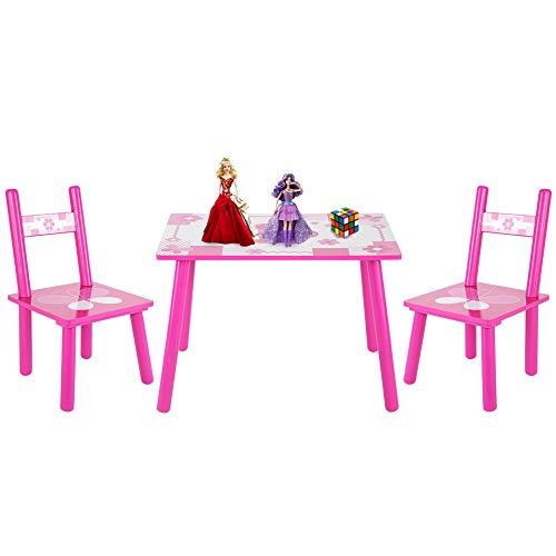Kindersitzgruppe Holz, 1 Kinder Tisch mit 2 Stuhl Set Stühlen Sitzgarnitur Mit Schmetterlingsdruck, Activity Tisch Kindermöbel Set, Für Kinder Zuhause Kindergarten Essen Lernen Malen