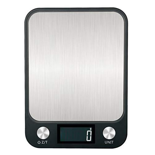 LONGWDS Escala Escala de Cocina de Acero Inoxidable Impermeable 10kg / 1g Cocina a Escala de cocción báscula básica de Cocina Digital electrónica Herramienta de Medida (Color : Black)