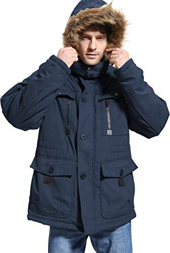 Yozai Mens Winter Parka Insulated Warm Jacket Military Coat Faux Fur with Pockets and Detachable Fur Hood 369 Navy Large