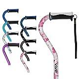 Vive Walking Stick - Adjustable for Men and Women - Ladies Portable Offset Balance Cane - Lightweight & Sturdy Mobility Walker Aid for Arthritis, Elderly, Seniors & Handicap (White Floral)
