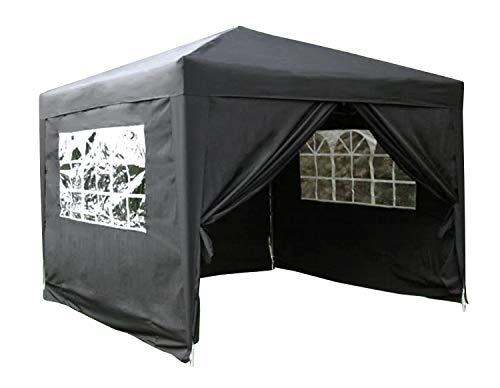Airwave 3x3mtr Pop Up Waterproof Gazebo in Black with 2 WindBars and 4 Leg Weight Bags