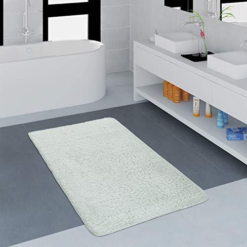 Paco Home Badezimmer Teppich Einfarbig Kuschelig Gemütlich In Versch. Größen u. Farben, Grösse:80x150 cm, Farbe:Weiß